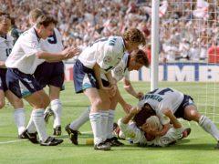 Paul Gascoigne celebrates his goal against Scotland (Neil Munns/PA)