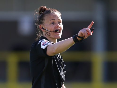 Rebecca Welch was the first female referee to be appointed to officiate an EFL game in April (Nigel French/PA)