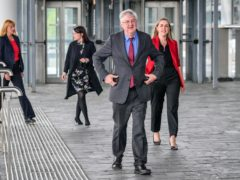Wales First Minister Mark Drakeford arrives at the Senedd in Cardiff Bay, Wales, with newly elected Labour MS' Carolyn Thomas, North Wales (left), Elizabeth Buffy Williams, Rhondda (second left), and Sarah Murphy, Bridgend & Porthcawl (right).