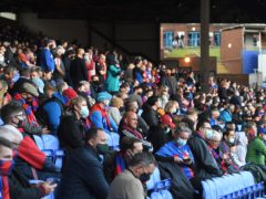A small section of Crystal Palace fans returned for the club's last home game of the 2020-21 season (Facundo Arrizabalaga/PA)