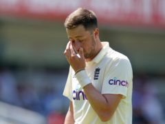 England's Ollie Robinson during a Test match at Lord's (Adam Davy/PA)