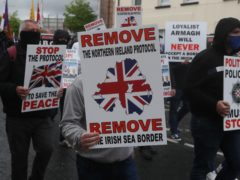 Loyalists take part in an anti-Northern Ireland Protocol rally in Portadown, Co Armagh (Brian Lawless/PA)