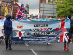 Loyalists take part in an anti-Northern Ireland Protocol rally in Portadown (Brian Lawless/PA)