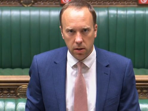 Health Secretary Matt Hancock makes a statement to the House of Commons (House of Commons/PA)