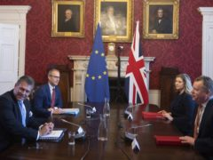Brexit minister Lord Frost, flanked by Penny Mordaunt, sitting opposite Maros Sefcovic and Richard Szostak (Eddie Mulholland/Daily Telegraph/PA)