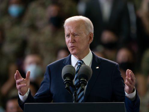 US President Joe Biden addresses US Air Force personnel at RAF Mildenhall (Joe Giddens/PA)