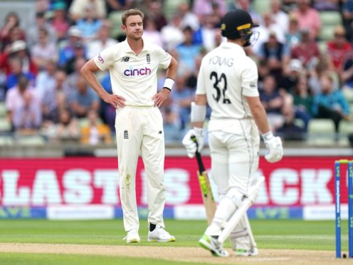 Stuart Broad (left) had been the standout bowler with two for 22 in 15 overs (Mike Egerton/PA)