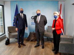 Prime Minister Boris Johnson (centre) with European Commission President Ursula von der Leyen and European Council President Charles Michel (Peter Nicholls/PA)