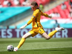 Jordan Pickford (pictured) and John Stones appeared to have some heated discussions (Nick Potts/PA)