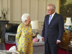 The Queen receives Australian Prime Minister Scott Morrison during an audience in the Oak Room at Windsor Castle (Steve Parsons/PA)