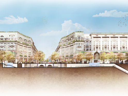 An artist's impression of the Oxford Circus scheme, looking west into Oxford Street (Westminster City Council/PA)