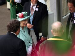 The Queen smiles as she talks to Sir Francis Brooke (left) and clerk of the course Chris Stickels (top right) (Steven Paston/PA)