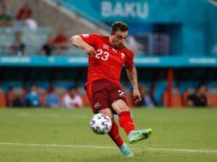 Xherdan Shaqiri scores Switzerland's third goal in their 3-1 win against Turkey (Valentyn Ogirenko/Pool via AP)