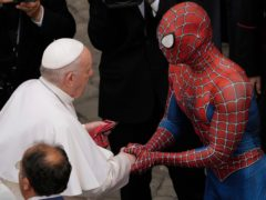 Pope Francis meets 'Spider-Man' at his weekly audience at the Vatican (Andrew Medichini/AP)