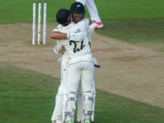 Kane Williamson (right) and Ross Taylor celebrate winning the match (Adam Davy/PA)