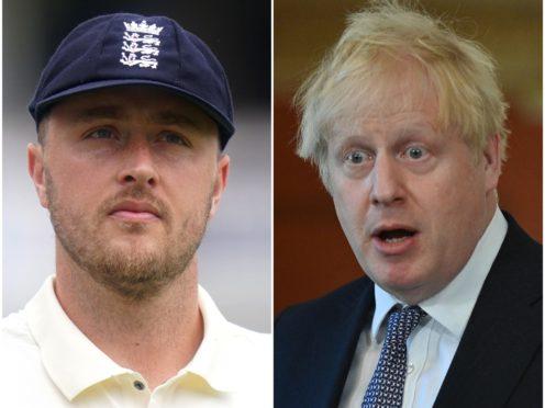 Ollie Robinson and Boris Johnson (Adam Davy/Justin Tallis/PA)