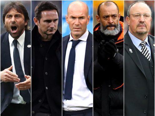 Antonio Conte, Frank Lampard, Zinedine Zidane, Nuno Espirito Santo and Rafael Benitez (Nick Potts/John Walton/Peter Powell/Bradley Collyer/Mark Kerton/PA)