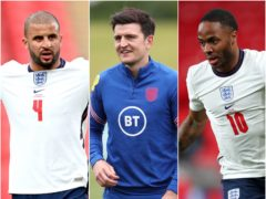 Kyle Walker (left) Harry Maguire and Raheem Sterling are preparing for England duty (Michael Regan/Nick Potts/Catherine Ivill/PA)