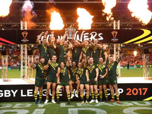 Australia pose with the trophy after the final of the 2017 Rugby League World Cup (Gregg Porteous/PA)
