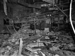 File photo dated 22/11/74 of a mass of rubble, the remnants of the Mulberry Bush pub in Birmingham, one of the two pubs in Birmingham where bombs exploded. The inquest into the Birmingham pub bombings opens at Birmingham Civil Justice Centre today.