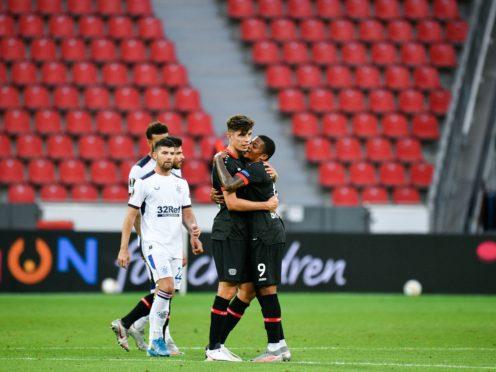 Bayer Leverkusen's Leon Bailey, right, is heading to Aston Villa (PA)