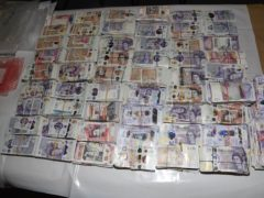 Some of the money found in the possession of Tara Hanlon when she was stopped at Heathrow Airport with suitcases full of cash (NCA/PA)
