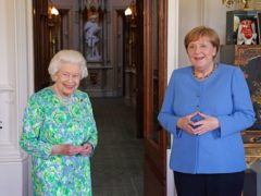 Queen Elizabeth II receives the Chancellor of Germany, Angela Merkel, during an audience at Windsor Castle in Berkshire. Picture date: Friday July 2, 2021.