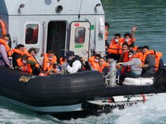 A group of people thought to be migrants are brought in to Dover, Kent, by Border Force on Wednesday (Gareth Fuller/PA)