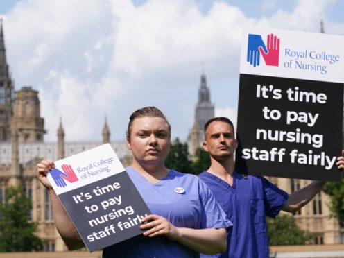 Nurses with placards outside the Royal College of Nursing in Victoria Tower Gardens, London (PA)