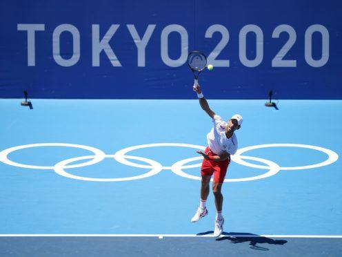 Novak Djokovic practices at the Ariake Tennis Park (Mike Egerton/PA)