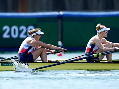 Great Britain's Helen Glover, left, and Polly Swann came third in their pairs heat in Tokyo (Mike Egerton/PA)