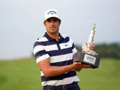 Nacho Elvira celebrates with the Cazoo Open trophy after victory over Justin Harding in a play-off at Celtic Manor (Zac Goodwin/PA)