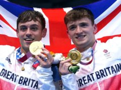 Tom Daley (left) and Matty Lee celebrate winning gold (Adam Davy/PA)