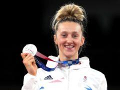 Lauren Williams celebrates secured silver on Monday (Martin Rickett/PA)