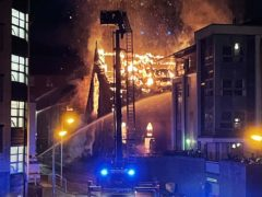 A fire at St Simon's Church in Glasgow (Amy Iona/Twitter/PA)