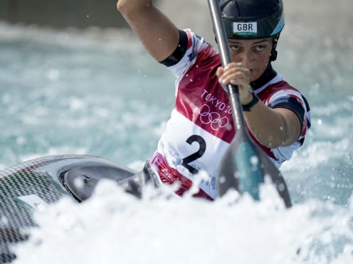 Great Britain's Mallory Franklin en route to a silver medal in the women's C1 Canoe Slalom final (Danny Lawson/PA Images).