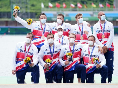 Great Britain celebrate their medal (Mike Egerton/PA)