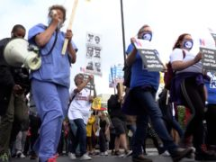 Health workers march to Downing Street (PA Video)