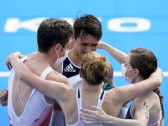 Jonathan Brownlee, Alex Yee, Jessica Learmonth and Georgia Taylor-Brown celebrate their victory (Danny Lawson/PA)