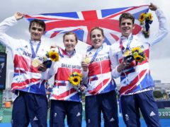 Great Britain's Alex Yee, Georgia Taylor-Brown Jessica Learmonth and Jonathan Brownlee on the podium with the gold medal for the Triathlon Mixed Relay (Danny Lawson/PA)