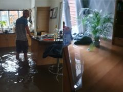 Flooding at a house in Walthamstow where Nicola Thorogood and her family were celebrating (Nicola Thorogood/PA)