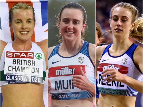 Laura Muir, centre, will run the 1500m, leaving the 800m to Keely Hodgkinson, left, and Jemma Reekie (Ian Rutherford/Martin Rickett/PA)