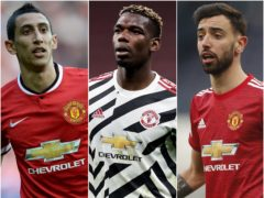Angel Di Maria, Paul Pogba and Bruno Fernandes have all made big-money moves to Manchester United in recent years. (Martin Rickett/PA/ Fabrizio Carabelli/PA/Matthew Childs/PA)