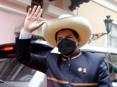 Pedro Castillo arrives to the Foreign Ministry before going to Congress for his swearing-in, on his Inauguration Day in Lima, Peru, Wednesday, July 28, 2021. (AP Photo/Guadalupe Pardo)