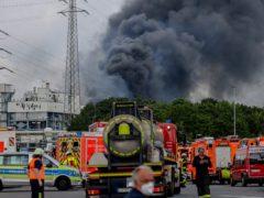 Emergency vehicles near the Chempark site in Leverkusen, Germany (Oliver Berg/dpa via AP)