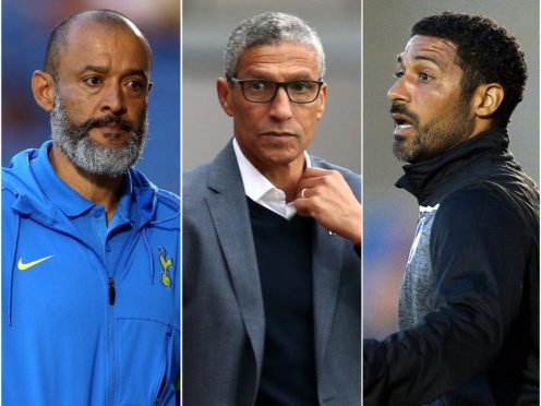 Nuno Espirito Santo, Chris Hughton and Hayden Mullins, l-r, are flying the flag for ethnic minority managers (Nigel French/Barrington Coombs/PA)