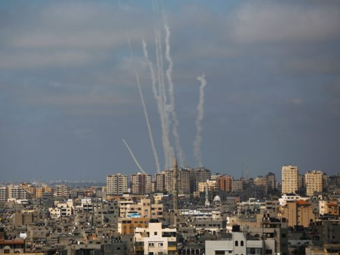 Rockets are launched from the Gaza Strip towards Israel on May 20 2021 (Hatem Moussa/AP)