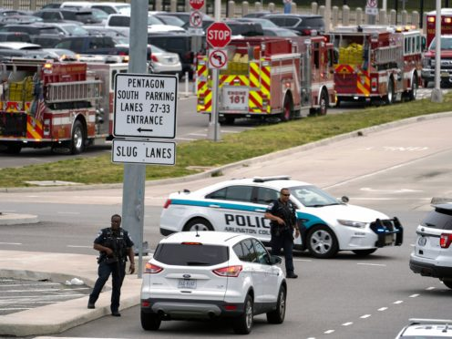 Emergency vehicles are seen outside the Pentagon (Andrew Harnik/AP)
