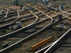 Train tracks at the entrance to Glasgow Central station (David Cheskin/PA)