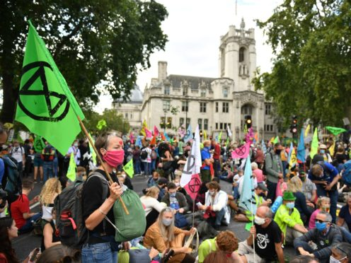 Extinction Rebellion has posted online about a forthcoming climate demonstration, which is due to last for two weeks from August 23, similar to its previous protests in central London in September 2019 (Dominic Lipinski/PA)